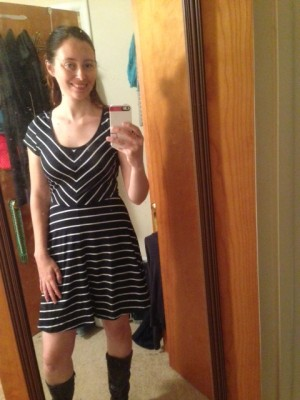 Spencer Striped Jersey Dress with boots