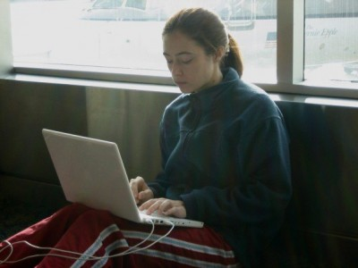 Writing at the airport, a few months before finding out I'd been accepted to graduate school.